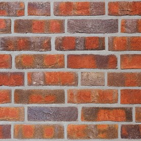 WASSERSTRICH buntgeflammt NF, 240x115x71 mm, hand-molded tiles
